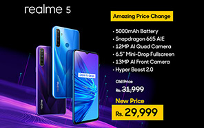 Realme 5 128GB variant gets a price drop in Pakistan, now retails at 29,999 Rupees