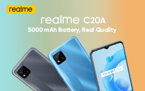 Ultra-Affordable Realme C20A Goes Official with a 5000 mAh Battery and Helio G35 Chip